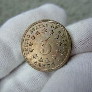 1869 Shield Nickel Toned Gem MS BU UNC Uncirculated
