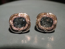 David Yurman  SS  10MM Blue Topaz  & Diamonds Labyrinth Earrings
