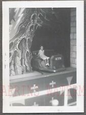 Unusual Vintage Photo Cute Girl on Snow White Ride Sleepy Dwarf Car 758489