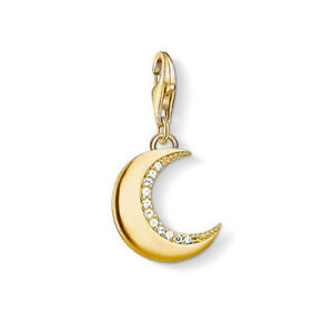 NEW Thomas Sabo Sterling Silver Gold Plated Protective Moon Charm Pendant Sky