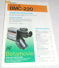 Sony BMC-220 Betamax Betamovie Video Camera Camcorder Operating Instruct Manual
