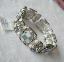 Lia Sophia S'MORE  Crystal and Genuine Mother of Pearl Stretch Bracelet NWT