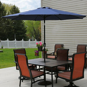 Sunnydaze Aluminum Patio Market Umbrella with Tilt and Crank - 9' - Navy Blue