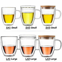 Kinds Heat Resistant Double Wall Clear Glass Tea Mug w/opt Bamboo / Glass Lid -A