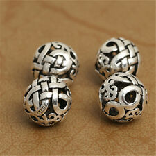 4 Sterling Silver Hollow Celtic Round Ball Beads 925 Silver 10mm
