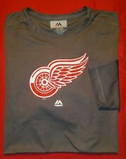NEW ! Detroit Red Wings Majestic men sz 2XL Long Sleeve gray performance T Shirt