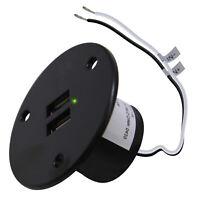 RV Recessed Mount 2 USB Charging Port Charger Socket 12V Power Outlet