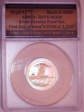 """2018-S QUARTER """"Block Is"""" ANACS SILVER REVERSE PROOF RP70 First Day Of Issue"""