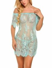 Sexy Womens Lingerie Off-shoulder Lace See Through Nightie Backless Sleepwear