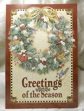 Holiday Seasonal Card Special Greeting Wreath Birds Bells Gift Post Vintage