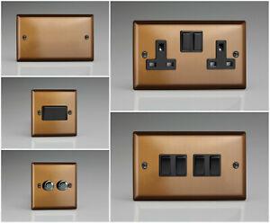Varilight Urban Brushed Bronze Range - Black Plastic Inserts & Switches