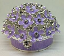 "Crystal Jeweled Purple Flowers Trinket Box (2.5""H x 4""D)"