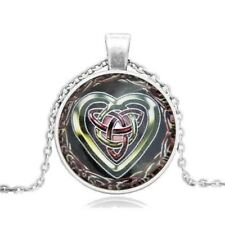 "Celtic Heart Cabochon Necklace 20"" Silver Tone Chain Glass 3D Jewelry Fashion"