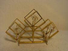 Mid Century 1970's Palwa Gilt Metal & Glass Napkin Holder #BA