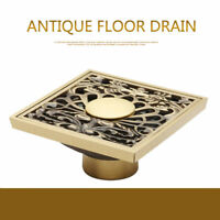 eub Floor Mounted Square Antique Brass Bathroom Shower Water Carved Floor Drain