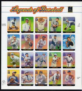 2000 US SC 3408 Legends of Baseball Full Sheet of 20, 33c - MNH Self Adhesive