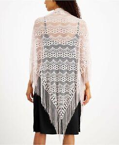 INC triangle long fringes lace evening women's shawl wrap -METALLIC SILVER