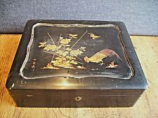 Vintage Oriental Black Lacquer Box with Gilded Cockerel Design (Chinese Asian)