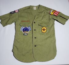 Vtg Boy Scouts of America Green Sanforized Shirt Senior Camp Geronimo AZ Patches