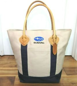 Vintage LL BEAN Tote & Boat Bag Shopping Leather and Canvas SUBARU