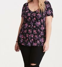 Torrid Floral Print Strappy Back Swing Tee Black 1X 14 16 1 #66224