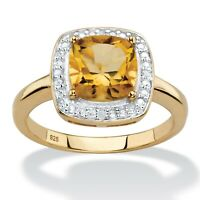1.83 TCW Citrine 14k Yellow Gold over .925 Silver Halo Ring