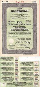 Teilschuldverschreibung ASW Aktiengesell.Sächsische Werke Dresden 1940+Zinsschei