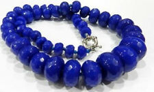 """10-20mm Faceted Blue Sapphire Abacus Necklace 20"""""""