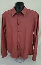 Mens Armani Exchange Button Front Shirt XL Red EUC Preowned White A|X Long Sleev