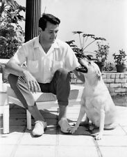 Rock Hudson UNSIGNED photograph - L6208 - With his dog! - NEW IMAGE!!