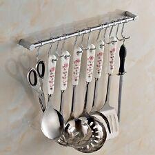 Kitchen Cupboard & Wall Mounted 12 Hooks Tool Utensils Holder Hanging Rail Rack