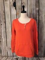 J Crew Orange Henley Top Long Sleeve Waffle Knit Kangaroo Pocket Womens Med M