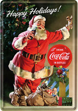 Retro Tin Metal Postcard COCA-COLA HAPPY HOLIDAYS 10x14cm Santa Licensed Product
