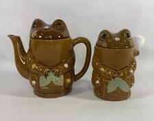 Vintage Brown Frog Teapot, Creamer And Sugar Bowl Set Made In Japan