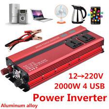 2000W 50Hz Car LED Power Inverter Converter DC 12V To AC 220V 4 USB Port Charger