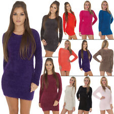 Women Ladies Knitted warm Jumper Fluffy Furry Boat Neck Winter Casual Dress New