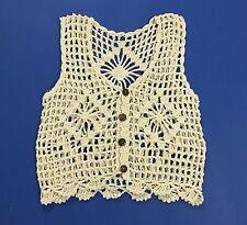Top maglia mare smanicato uncinetto donna senza manica vintage trasparente T1857