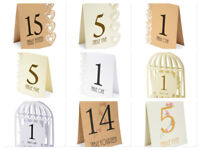 Wedding Party Table Numbers 1 to 15 Centrepiece Decoration White Brown & Ivory