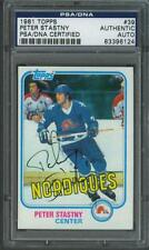 Peter Stastny signed Quebec Nordiques 1981 Topps rookie hockey card Psa/Dna