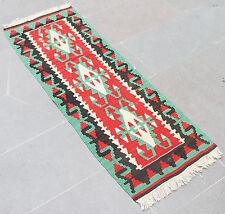 Turkish Rug 17''x50'' Oriental Vintage Runner Kilim Corridor Kilim Hallway Rug