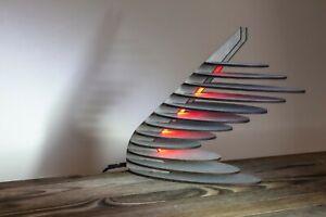 Curved Layered Ellipse Futuristic Wooden Lamp | Sci-fi Punk Style LED RGB Lamp
