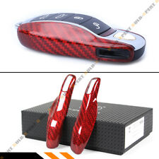 LUXURY RED REAL CARBON FIBER SNAP ON REPLACEMENT CASE FOR PORSCHE KEY FOB REMOTE