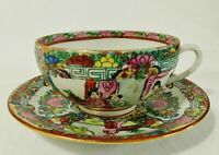 Beautiful Antique Chinese Famille Rose Medallion HONG KONG Tea Cup & Saucer Set