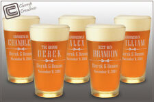 Qty 5 Pint Beer Glasses Groomsman Gift Engraved Personalized Wedding Bridesmaids