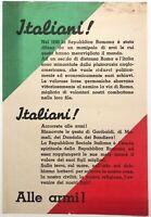 """RSI """"ITALIANI! ITALIANI! ALLE ARMI"""" volantino di propaganda Rep Sociale Italiana"""
