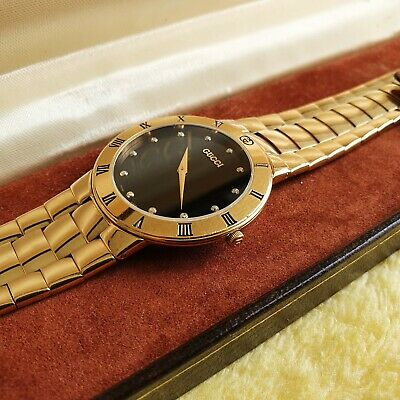 Gucci 3300M 18K Gold Plated Men's Watch with Diamond Hour Markers (NR779)