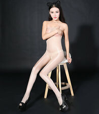 Women Shiny Sheer Glossy Tights Thin Pantyhose Nude Crotchless Bodystocking