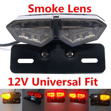 Smoke LED Motorcycle Brake Tail Turn Signal License Plate Integrated Light 12V T