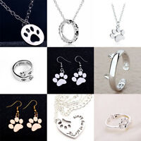 Cute Dog Paws Print Necklace Ring Charms Pendant Earring Jewelry Pet Lover Heart