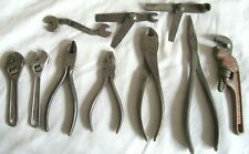 """LOT VTG WRENCHES 4"""" SMALL CRESCENT UTICA RIDGID SNAP ON ADJUSTABLE PLIERS CUTTER"""